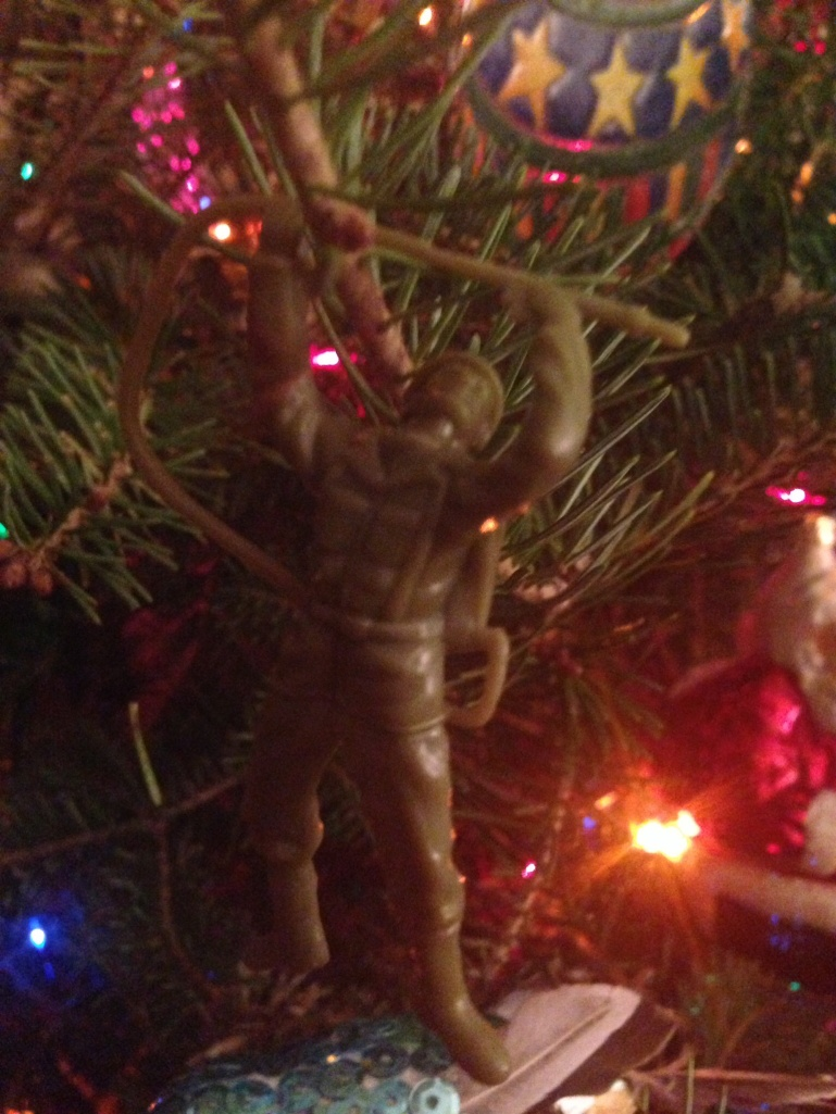 Christmas tree warrior discovered during dismantling.