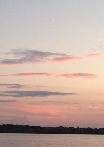 Pink clouds and crescent moon.